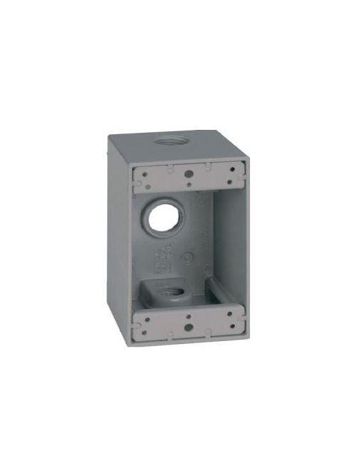Teddico DB-75V 1-Gang 4-9/16 x 2-13/16 x 2-5/8 Inch 3/4 Inch 3-Hub Gray Die-Cast Metal Weatherproof Outlet Box