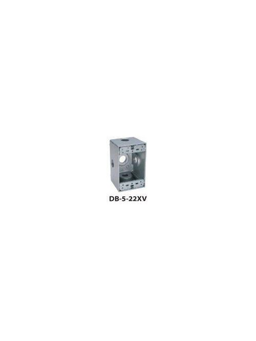 Teddico DB75-22XV 1-Gang 4-9/16 x 2-13/16 x 2-5/8 Inch 3/4 Inch 5-Hub Gray Die-Cast Metal Weatherproof Outlet Box