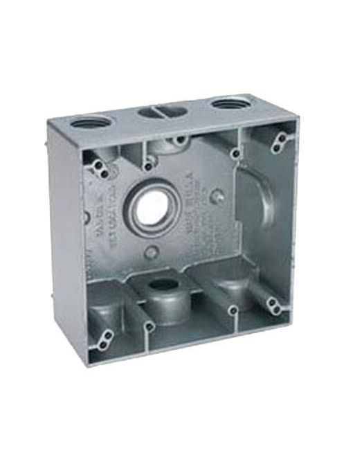 Teddico TGB75-4V 2-Gang 4-9/16 x 4-5/8 x 2 Inch 3/4 Inch 4-Hub 31 InGray Die-Cast Metal Weatherproof Outlet Box