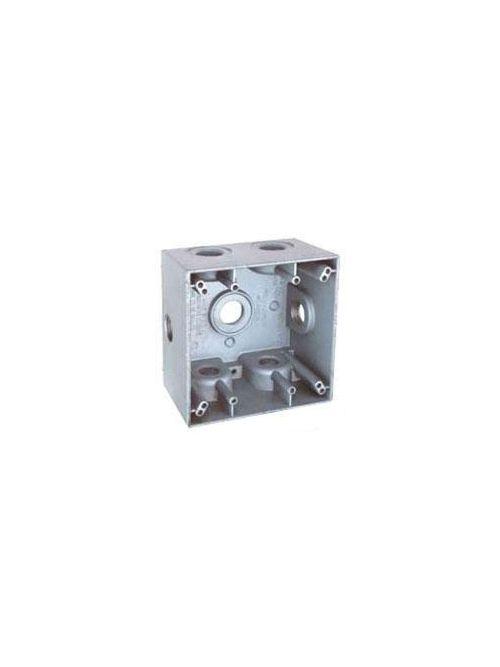 Teddico TGB-77XV 2-Gang 4-9/16 x 4-5/8 x 2 Inch 3/4 Inch 7-Hub 31 InGray Die-Cast Metal Weatherproof Outlet Box
