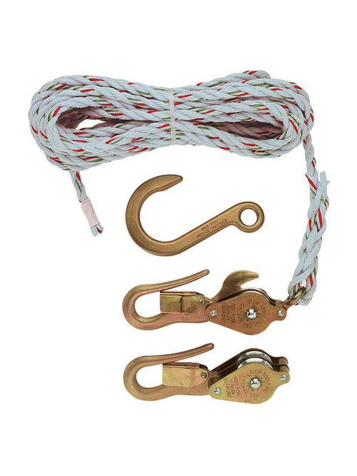 Klein Tools H1802-30 25 Foot x 3/8 Inch 750 lb Galvanized Steel/Aluminum Alloy Rope Block and Tackle with Snap Hook
