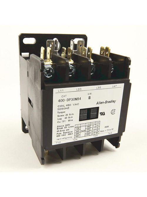 Allen-Bradley 400-DP30NB2 30 Amp 480 Volt 50/60 Hz Definite Purpose Contactor