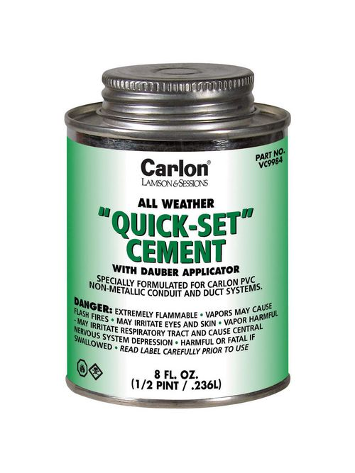 "Carlon VC9983 PVC All-Weather ""Quick-Set"" Clear Cement, 1-Pint"