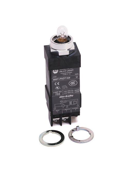 Allen-Bradley 800T-PSDT16 18 mm 120 VAC Dual Input Transformer Relay Incandescent Small Pilot Light