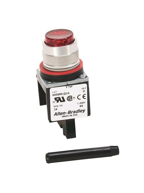 Allen-Bradley 800MR-P16W 22.5 mm NEMA 13 120 VAC White Transformer Stab Terminal Standard Pilot Light