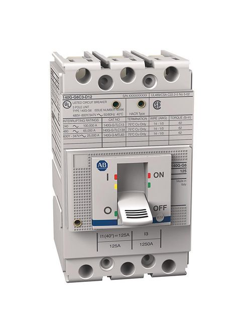 Allen Bradley 140G-G3C3-D12 125 Amp 35 kA G-Frame Thermal Magnetic Molded Case Circuit Breaker