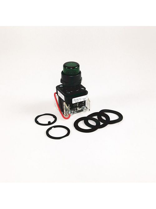 Allen-Bradley 800H-PRT16GAP Green Plastic 30.5 mm Transformer Push-To-Test Pilot Light