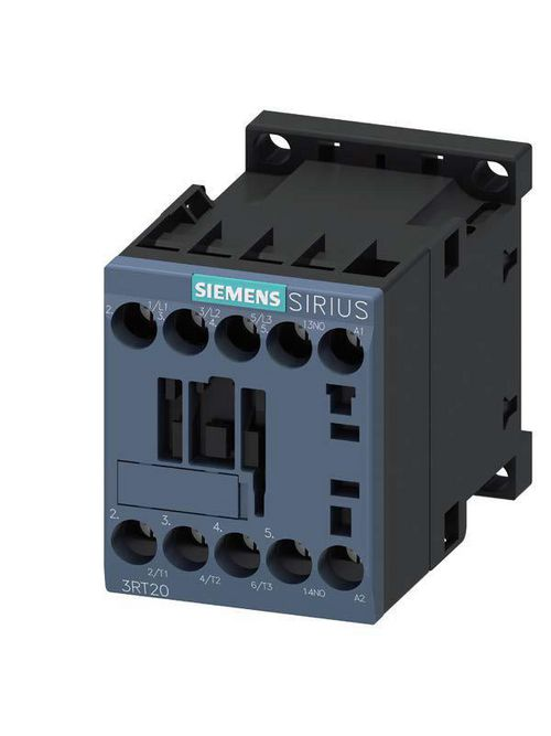 Siemens Industry 3RT20161AB01 24 VAC 9 Amp 3-Pole 1NO Screw Terminal IEC Contactor