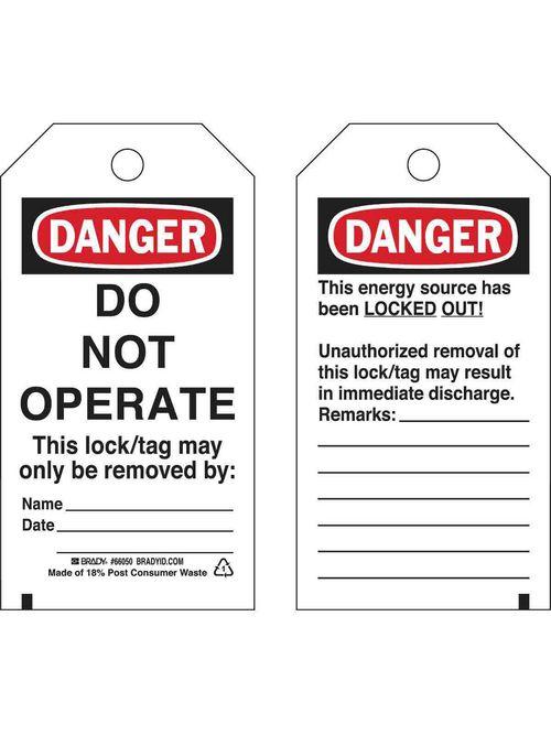 Brady 65407 Paper Lockout Tags