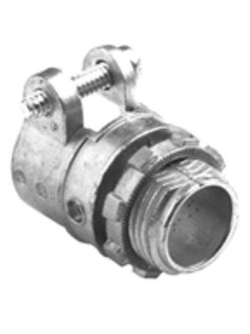 """Bridgeport 412-DCI2 1-1/4"""" Flexible Metal Conduit Squeeze Connector w/ Insulated Throat, Zinc Die Cast"""