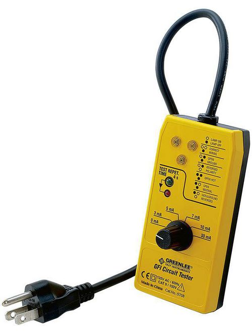 Greenlee 5708 120 VAC 3-Wire Yellow Ground Fault Circuit Interrupter and Tester