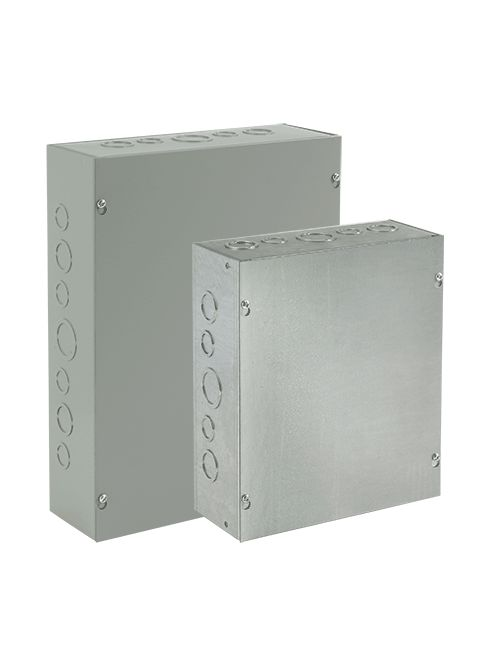 Hoffman ASG4X4X3 Galvanized Steel NEMA 1 Screw Cover Pull Box with Knockout