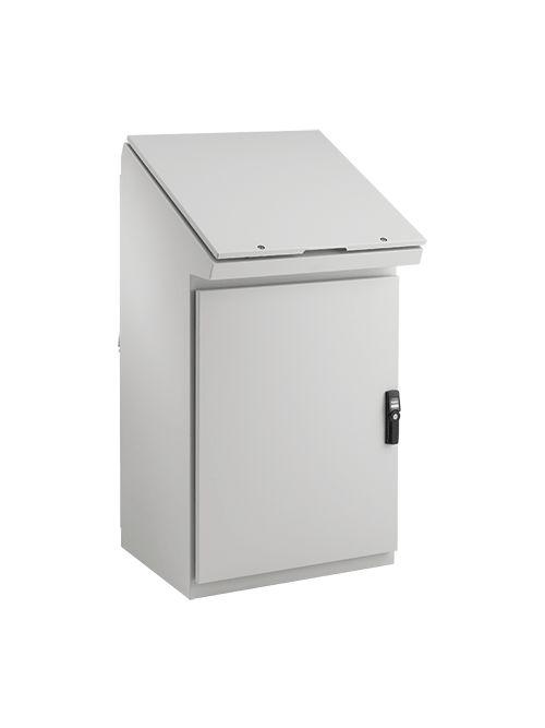 Hoffman PGLD1285DC 25 x 31.57 Inch 14 Gauge Steel 25 Degrees Sloped NEMA 12 Single Bay Dual Access Enclosure Desk Console
