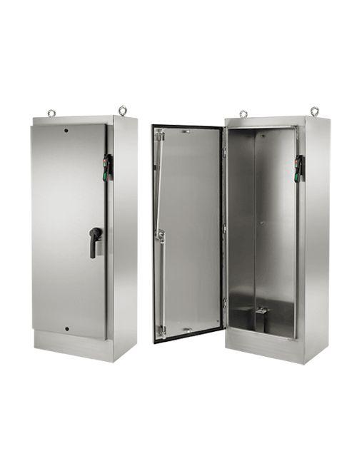 Hoffman A72HXS3924SSLPQT 72.06 x 38.5 x 24.06 Inch 14 Gauge 304 Stainless Steel NEMA 4X 1-Door Free Stand Disconnect Enclosure