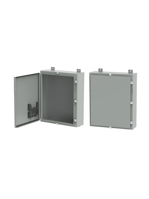 Hoffman A20H16BLP 20 x 16 x 8 Inch Gray 16 Gauge Steel NEMA 4 1-Door Wall Mount Enclosure