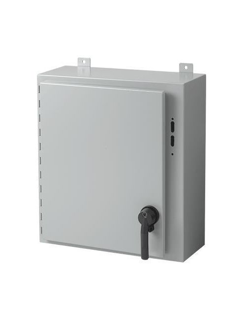 Hoffman A30SA2608LPPL 30 x 25.38 x 8 Inch White/Gray 14 Gauge Steel NEMA 12 Wall Mount Disconnect Enclosure with Handle