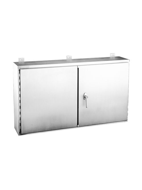 Hoffman A306010WFSSLP 30 x 60 x 10 Inch 14 Gauge 304 Stainless Steel NEMA 12 2-Door Wall Mount Enclosure