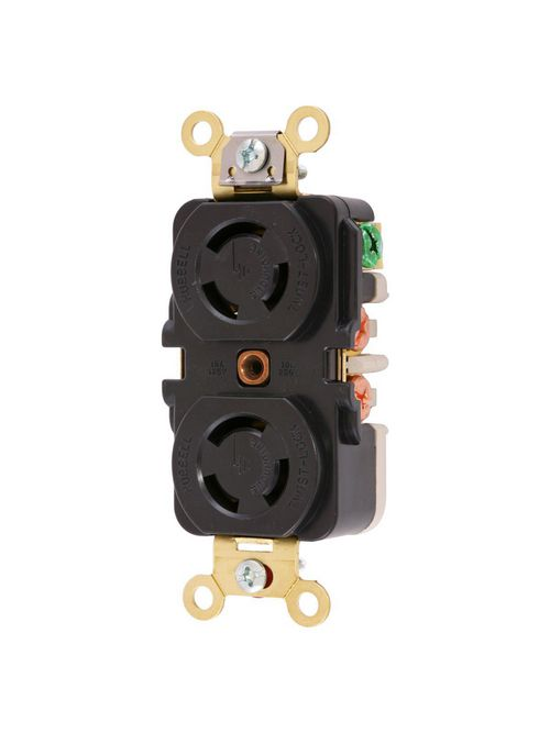 Hubbell Wiring Devices HBL7580G 10 Amp 250 VAC 2-Pole 3-Wire Non-NEMA Black Duplex Locking Receptacle