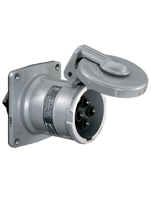 Hubbell HBL460RS1W 60 Amp 600 VAC 250 VDC 3-Pole 4-Wire Style I Watertight IEC Pin and Sleeve Receptacle