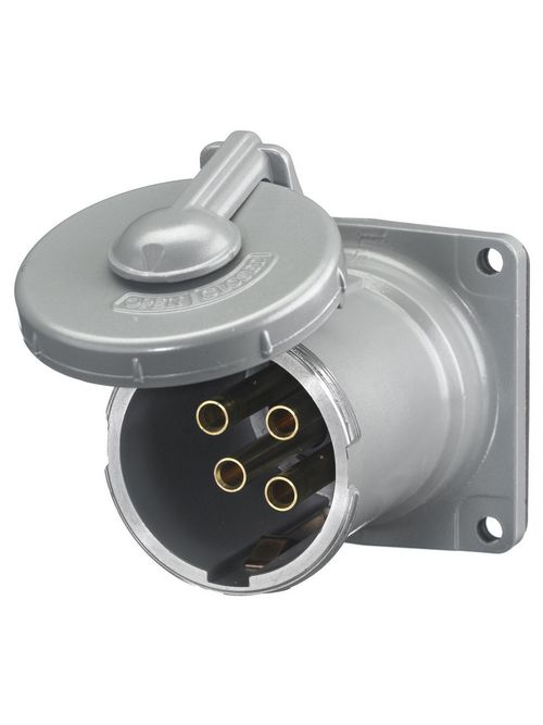 Hubbell Wiring Devices HBL4100RS2WR 100 Amp 600 VAC 200 VDC 3-Pole 4-Wire Style II Watertight IEC Pin and Sleeve Receptacle