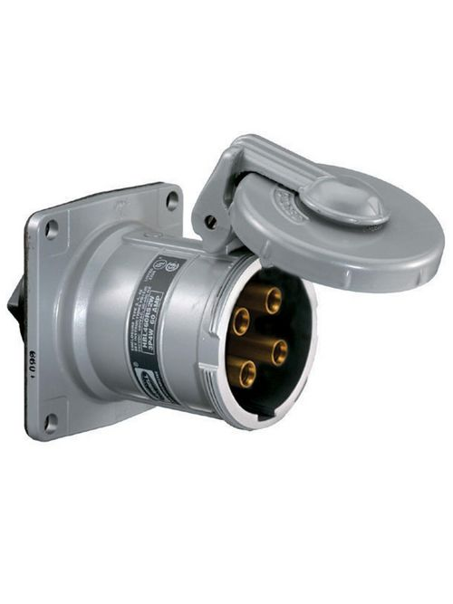 Hubbell HBL460RS2WR 60 Amp 600 VAC 250 VDC 3-Pole 4-Wire Style II Watertight IEC Pin and Sleeve Receptacle