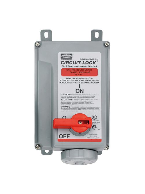 Hubbell Wiring Devices HBL430MI7WR 30 Amp 480 Volt 3-Pole 4-Wire Watertight IEC Pin and Sleeve Mechanical Interlock