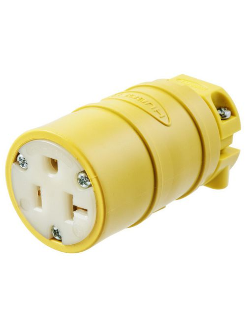 Hubbell Wiring Devices HBL1533 20 Amp 125 Volt 2-Pole 3-Wire NEMA 5-20R Yellow Straight Blade Connector