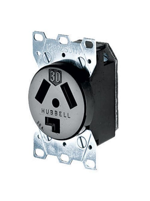 Hubbell Wiring Devices HBL9350 30 Amp 125/250 Volt 3-Pole 3-Wire NEMA 10-30R Black Phenolic Straight Blade Device Receptacle