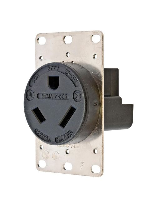 Hubbell Wiring Devices HBL9365 50 Amp 277 Volt 2-Pole 3-Wire NEMA 7-50R Black Straight Blade Receptacle