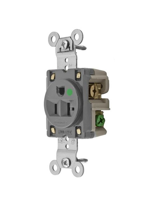 Hubbell Wiring Devices HBL8310GY 20 Amp 125 Volt 2-Pole 3-Wire NEMA 5-20R Gray Single Straight Blade Receptacle
