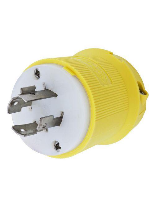 Hubbell Wiring Devices HBL24CM31 20 Amp 480 Volt 3-Pole 4-Wire NEMA L16-20P Yellow Locking Plug