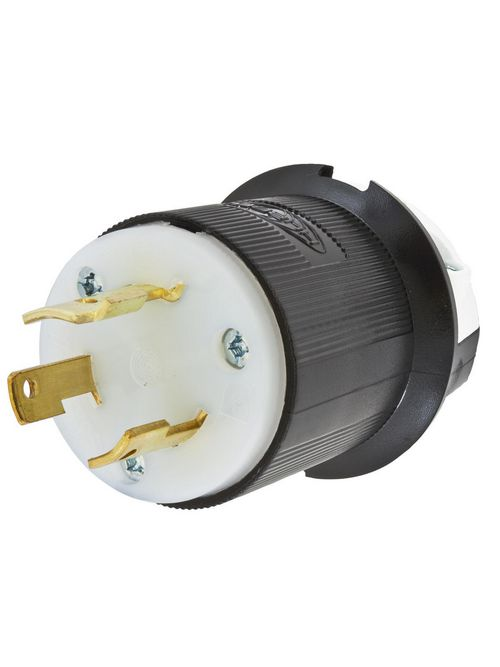 Hubbell Wiring Devices HBL2651 30 Amp 600 Volt 2-Pole 3-Wire NEMA L9-30P Black and White Locking Plug