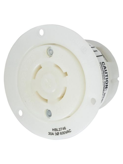 Hubbell Wiring Devices HBL2746 30 Amp 600 Volt 3-Pole 4-Wire NEMA L17-30R White Locking Flanged Receptacle