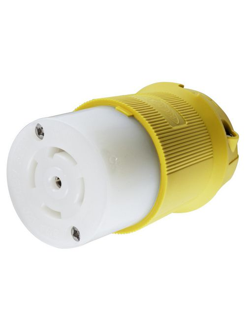 Hubbell Wiring Devices HBL28CM13 30 Amp 120/208 VAC 4-Pole 5-Wire NEMA L21-30R Yellow Locking Connector Body