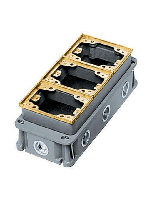 Hubbell Wiring Devices B433361 3-Gang 34.8 In Brass Cast Iron Rectangular Floor Box