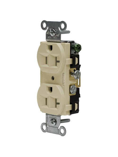 Hubbell Wiring Devices CRF20I 20 Amp 125 Volt 2-Pole 3-Wire NEMA 5-20R Ivory Straight Blade Duplex Receptacle