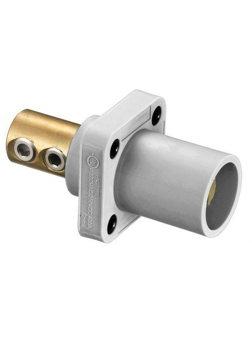 Hubbell Wiring Devices HBLMRW 400 Amp 1-Pole White Double Set Screw Male Cam Type Receptacle