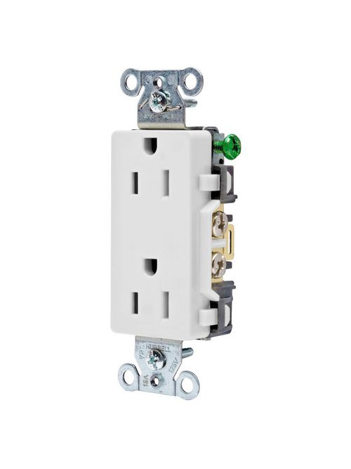 Hubbell Wiring Devices DR15WHI 15 Amp 125 Volt 2-Pole 3-Wire NEMA 5-15R White Decorator Straight Blade Receptacle