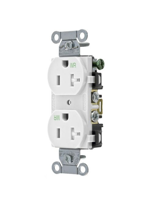 Hubbell Wiring Devices BR20WHIWRTR 125 Volt 20 Amp NEMA 5-20R White Commercial Grade Weather/Tamper Duplex Receptacle