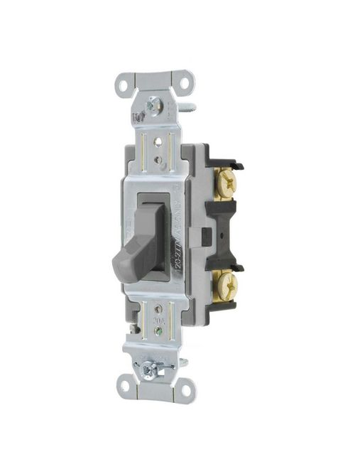 Hubbell Wiring Devices CSB420GY 20 Amp 120/277 Volt Gray 4-Way Specification Grade Back and Side Wired Toggle Switch