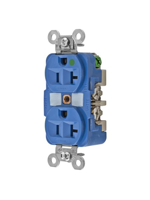 Hubbell Wiring Devices HBL8300BL 125 Volt 20 Amp Blue Hospital Grade Receptacle