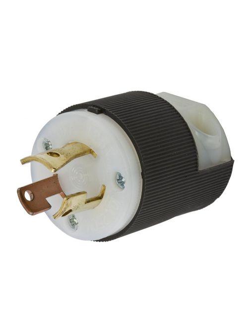 Hubbell Wiring Devices HBL7567C 10 Amp 250 VAC 3-Pole 3-Wire Non-NEMA Black/White Nylon Locking Plug