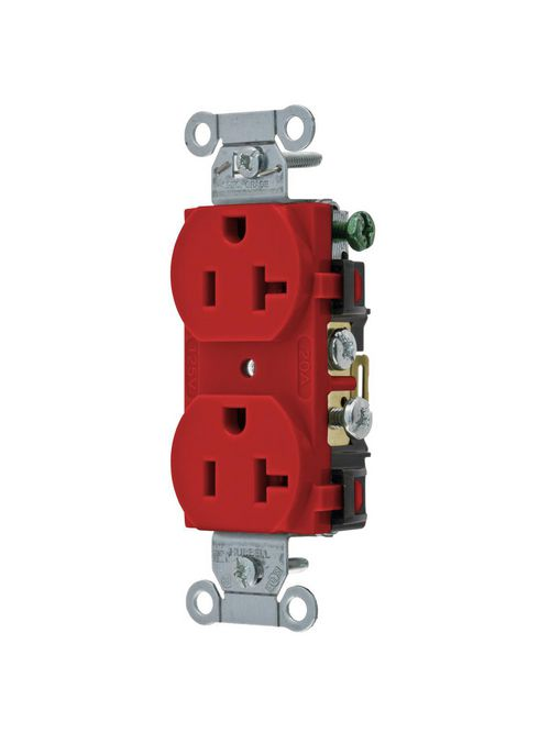 Hubbell Wiring Devices CR20R 20 Amp 125 Volt 2-Pole 3-Wire NEMA 5-20R Red Straight Blade Duplex Receptacle