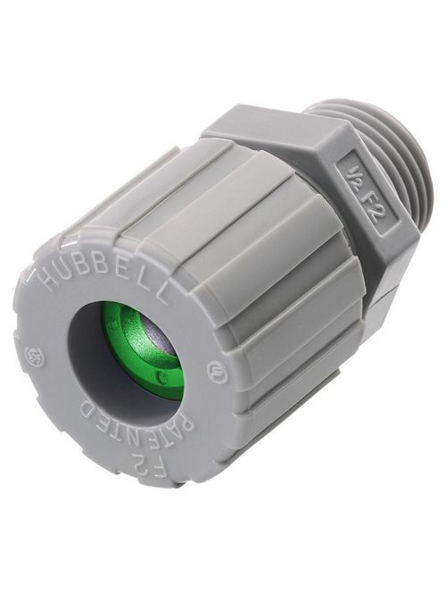 Hubbell Wiring Devices SHC1019CR 1/2 Inch Male Threaded 0.06 to 0.13 Inch Gray Nylon Straight Cord Connector