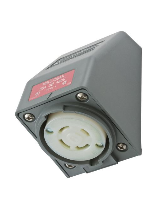 Hubbell Wiring Devices HBL2730AR 30 Amp 480 Volt 3-Pole 4-Wire NEMA L16-30R Gray Angle Housing Locking Receptacle