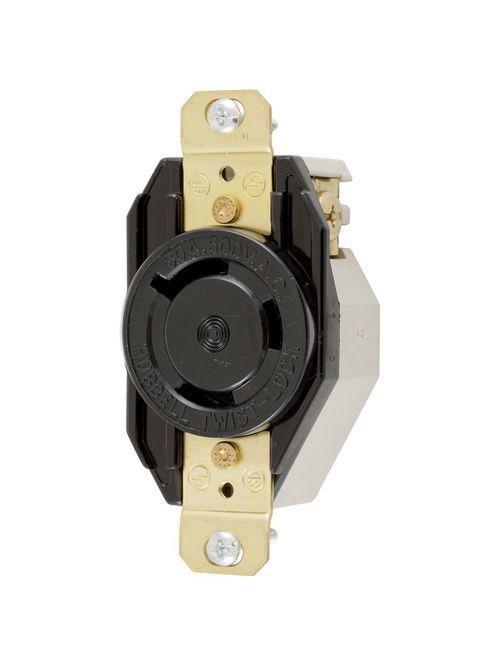 Hubbell Wiring Devices HBL2650 30 Amp 600 Volt 2-Pole 3-Wire NEMA L9-30R Black Single Flush Locking Receptacle