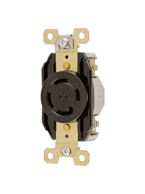 Hubbell Wiring Devices HBL2770 30 Amp 347/600 VAC 4-Pole 4-Wire NEMA L20-30R Black Single Flush Locking Receptacle
