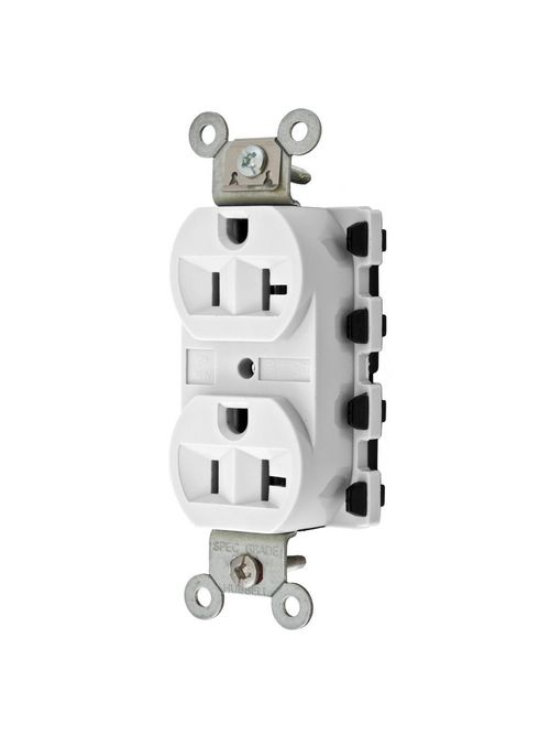 Hubbell Wiring Devices SNAP5362WA 20 Amp 125 Volt 2-Pole 3-Wire NEMA 5-20R White Straight Blade Duplex Receptacle