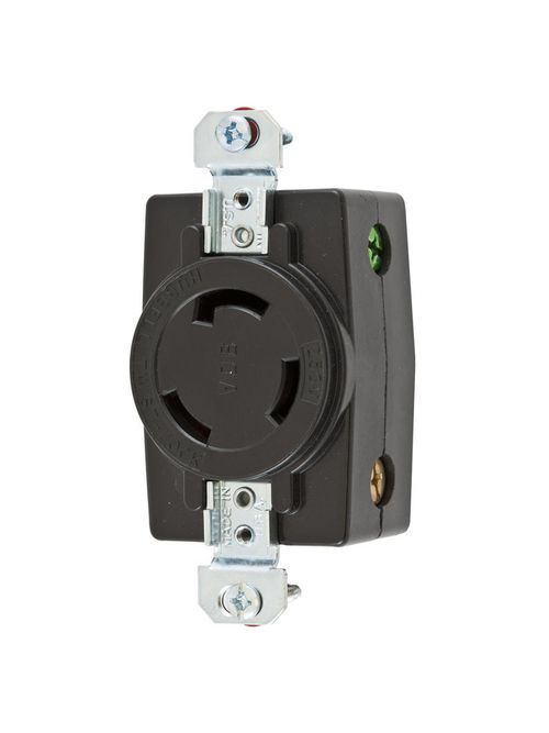 Hubbell Wiring Devices HBL3330 30 Amp 125/250 VAC 3-Pole 3-Wire Non-NEMA Black Single Flush Receptacle