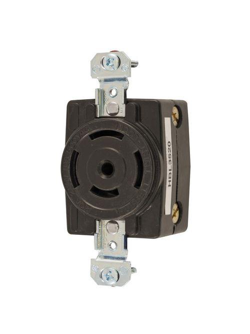 Hubbell Wiring Devices HBL3520 10/20 Amp 600/250 VAC 4-Pole 5-Wire Non-NEMA Black Single Flush Receptacle